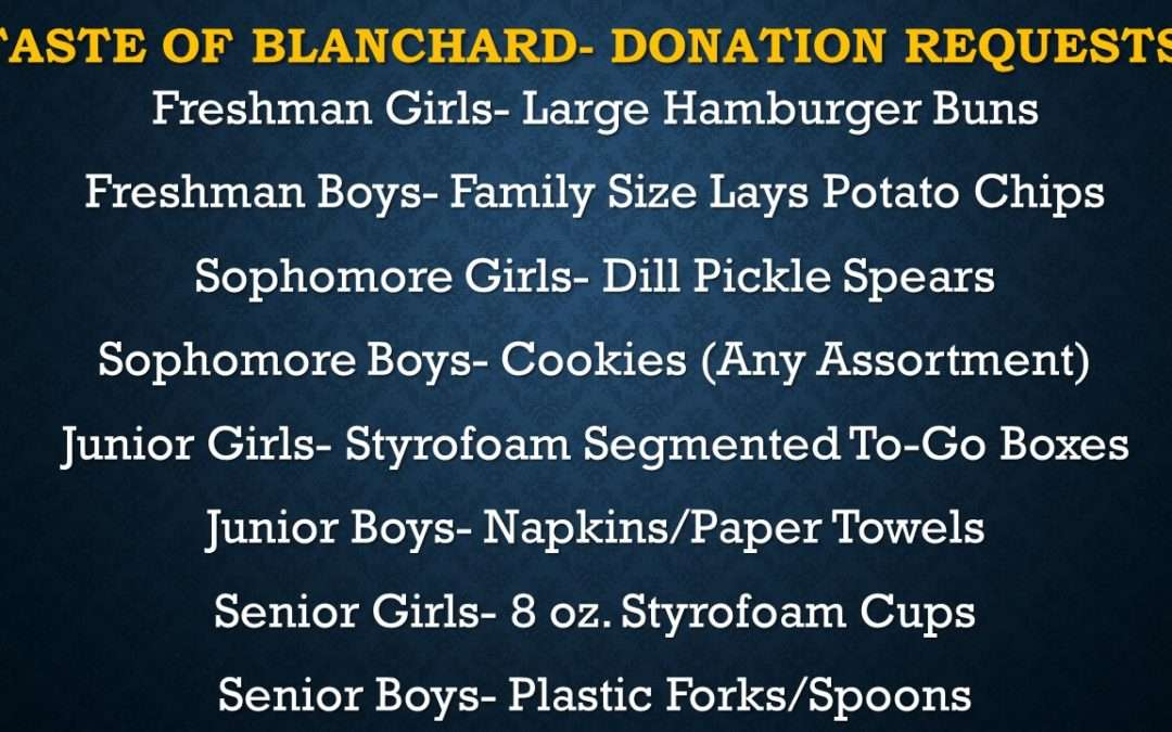 It's Taste of Blanchard Time- We Need Your Help!